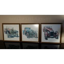 Conjunto cuadros coches antiguos