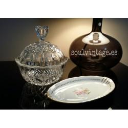 Bombonera cristal de bohemia y plata