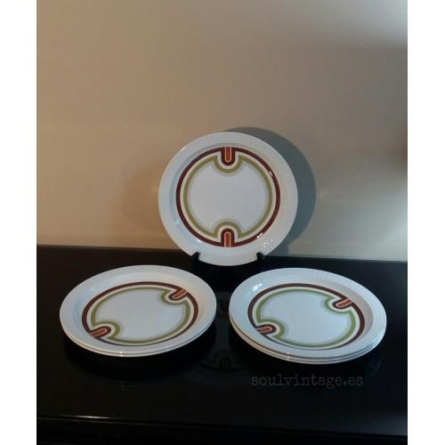 Conjunto de seis platos Pontesa. Años 70'
