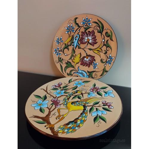 Pareja de platos cerámica Manises. Años 70'